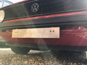 VW Golf Caddy MK1 Front Number Plate Mount for Small Metal Chrome Bumpers